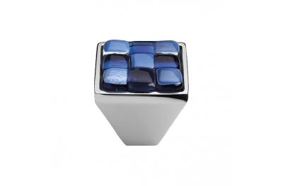 Pomolo Mobile Linea Calì Crystal BRERA CHESS PB 30 CR Inserto Vetro Bianco Blu
