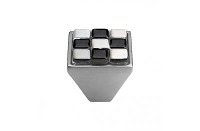 Pomolo Mobile Linea Calì Crystal BRERA CHESS PB 29 CS Inserto Vetro Bianco Nero