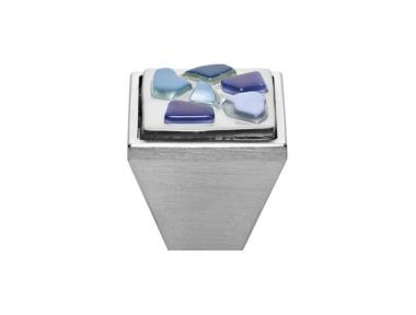 Pomolo Mobile Linea Calì Crystal BRERA STONE PB 27 CS Inserto Vetro Blu Azzurro