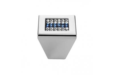 Pomolo Mobile Linea Calì Crystal Mesh Blue PB con Swarowski® Blu Cromo Lucido