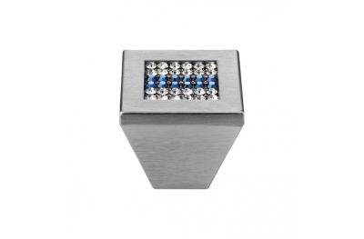 Pomolo Mobile Linea Calì Crystal Mesh Blue PB con Swarowski® Blu Cromo Satinato