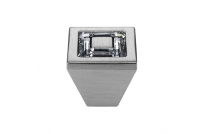Pomolo Mobile Linea Calì Ring Crystal PB con Cristalli Swarowski® Cromo Satinato