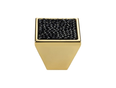Pomolo Mobile Linea Calì Rocks PB con Cristalli Neri Swarowski® Oro Zecchino