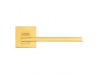 Slim Ottone Lucido Verniciato Maniglia per Porta su Rosetta con Montaggio Ultrarapido Click-Clack Linea Calì Design